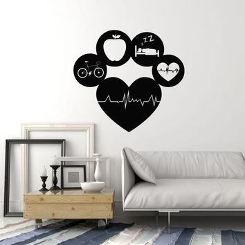 Vinyl Wall Decal Healthy Lifestyle Living Sports Gym Fitness Diet Cardio Stickers Mural (ig5426)