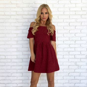 Pull Her Close Skater Dress in Burgundy