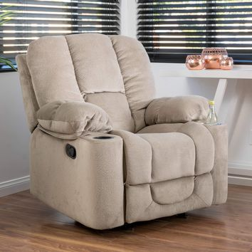 Gannon Fabric Glider Recliner Club Chair by Christopher Knight Home - Beige