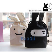 1PC Ninja Rabbit Drawstring Bags Cute Travel/Lunch Bag 2 Colors Cosmetic Bag