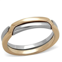 Interlocking Rose Gold Stainless Steel Band Ring Set