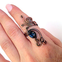 wire wrapped jewelry handmade ring, copper wire jewelry, wire wrapped ring, handmade copper ring, wire wrap ring