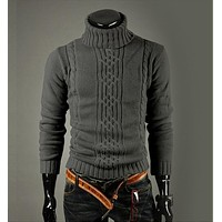 High Quality Casual Sweater For Men  / Long Sleeve Turtle Neck Knitwear
