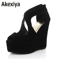 Akexiya 2017 Summer New Nightclub Woman Shoes Sexy European Open Toe High Heels Ladies Platform Wedge Shoes Size 35-39