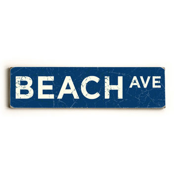 Beach Ave by Artist Peter Horjus Wood Sign