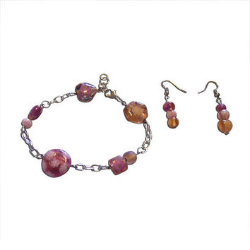 Pink and Orange Glass Beaded Chainlink (Large bracelet) and Earring Set