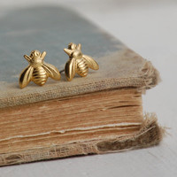 Tiny GOLD Bee EARRINGS Post Earrings Golden Honey Bee Woodland Insect
