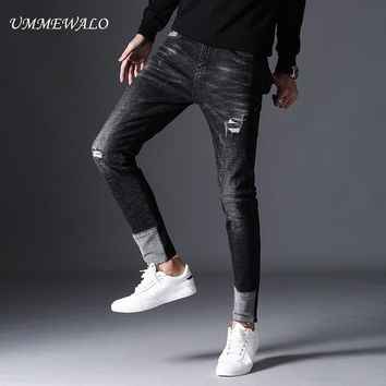 UMMEWALO Black Skinny Jeans Men Stretch Ripped Denim Jeans Cotton Casual Patchwork Jean Male Designer Slim Quality Jeans Homme