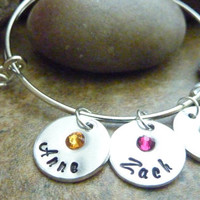 Mother's bracelet Grandma Personalized Bangle Bracelet Expandable Hand stamped Jewelry