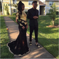 Sexy African Black Girl Prom Dresses 2017 Robe de soiree Gold Applique High Neck Long Sleeve Mermaid Evening Dresses Party Gowns