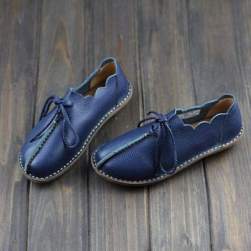 Casual Genuine Leather Lace-Up Moccasins