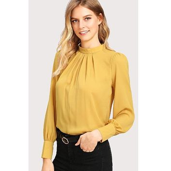 Mustard Puff Sleeve Pleated Detail Blouse