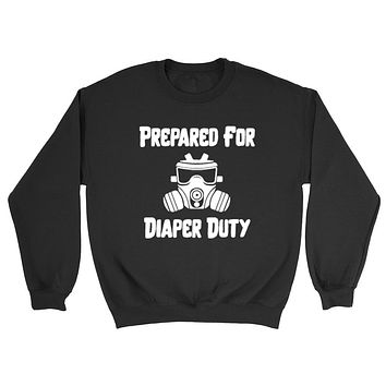 New dad, prepared for diaper duty pregnancy announcement Crewneck Sweatshirt