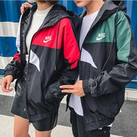 """Nike"" Unisex Sport Casual Multicolor Couple Long Sleeve Zip Cardigan Hooded Windbreaker Coat"