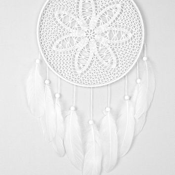 White Dream Catcher Crochet Doily Dreamcatcher white feathers boho dreamcatchers wall hanging wall decor wedding decor wooden beads
