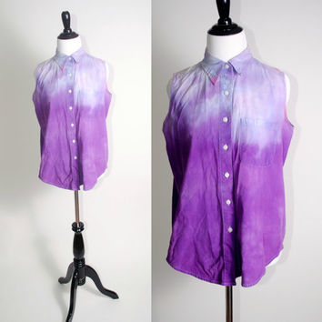Vintage 1990s Reconstructed TIE DYED button down DENIM sleeveless shirt