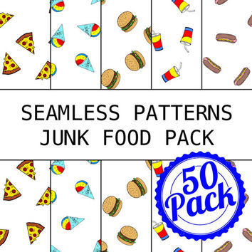 Seamless Patterns JPG Files - Junk Food Pack - Digital Scrapbook Paper Pack