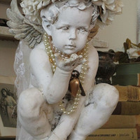 Distressed cherub statue w/ handmade ornate white rose crown shabby cottage chic embellished angelic figure home decor anita spero design