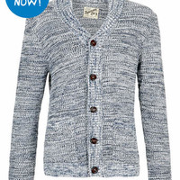 NAVY AND WHITE MIX YARN CARDIGAN - New In