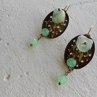 Drop Earrings with Fluorite & Chalcedony Stones+Brass ~Star Mint~ Elvish Earrings Botanical Earrings Mint Earrings in Mint Green and Brass
