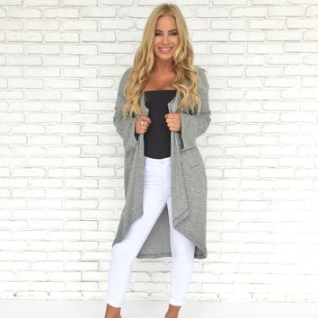 Open Up Fleece Duster Cardigan In Grey