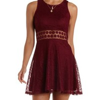 Burgundy Crochet-Waist Lace Skater Dress by Charlotte Russe