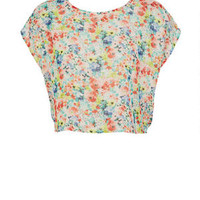 Zip Back Floral Chiffon Top