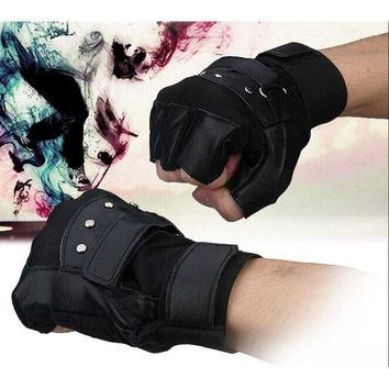 Portable NEW Styling Men Soft Sheep Leather Driving Motorcycle Biker Fingerless Warm Gloves