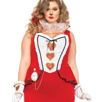 DCCKLP2 5PC.Tea Party Bunny,dress,wrist cuffs,neck piece,tail,bunny ear in RED/WHITE