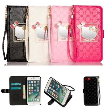 Phone Case For Apple iPhone X Luxury Wallet hello kitty Magnetic Flip PU Leather Cover For iPhone X 6 6s 7 8 4.7' plus 5.5' Case