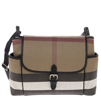 Burberry Women's Canvas Check and Leather Baby Changing Shoulder Bag Black