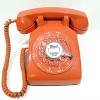 Orange Rotary Phone Working Telephone