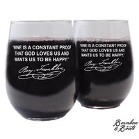 Famous Wine Sayings Personalized Etched Wine Glasses