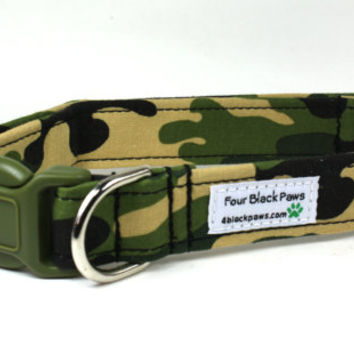 Boy Dog Collar - Camouflage Adjustable Dog Collar / Made to Order