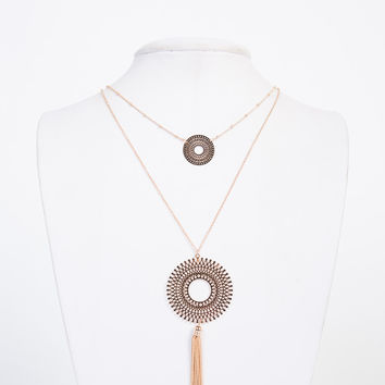 Fringed Circle Layered Necklace
