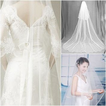 DCCKIX3 2014 White 2.7M Floor Longth Bridal Veils 1 Tier Layer Elegant Wedding Accessories Dress Bride Cathedral Chapel = 1929653572