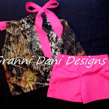 MOSSY OAK Camo camouflage top and shorts hot pink baby toddler girl 0 3 6 9 12 18 24 months 2t 3t 4t 5t