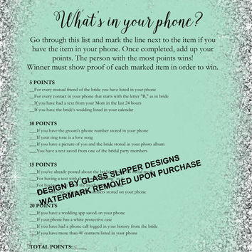 Printable what's in your phone bridal shower/bachelorette game - bride and co theme