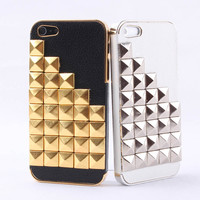 Hot Rivet on Litchi Grain Stick Handmade Hard Case For Iphone 4/4s/5