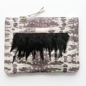 ADORA  3 / Natural reptile leather & feather clutch bag - Ready to Ship