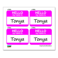 Tonya Hello My Name Is - Sheet of 4 Stickers
