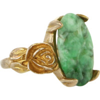 Vintage Carved Jade Flower Cocktail Ring 14 Karat Yellow Gold Estate Jewelry Heirloom