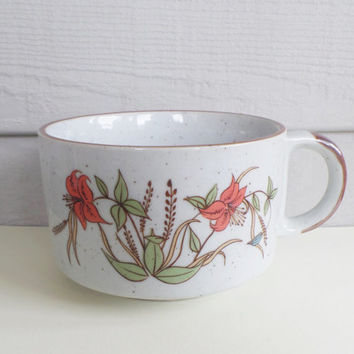 Vintage 1970s Floral Ceramic Mug or Soup Bowl - Made in Korea