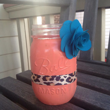 Coral Painted Mason Jar