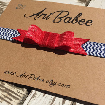 Baby headband, baby bow headband, red bow baby headband, chevron headband, headband for girls, teen, infant