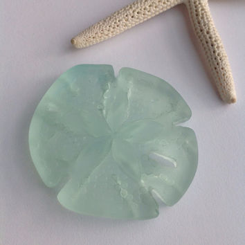Lg sea glass sand dollar bead~cultured seaglass-1pc aqua coke bottle beach glass-drilled glass-tumbled,frosted sea bead-sand glass-supplies