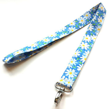 Sky Blue w/  White Daisies Fabric Lanyard Womens Fashion Floral Lanyards Girls Daisy Keychain or Keyfob Nature ID or Badge Holder