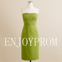 Sheath/Column Strapless Taffeta  Knee-Length Bridesmaid/Evening/Prom Dress