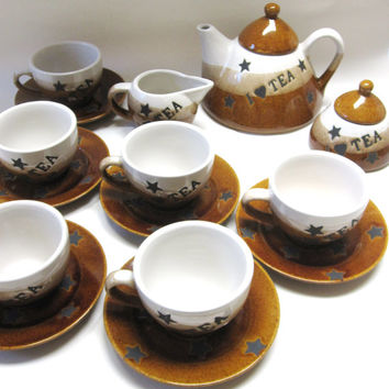 Brown White Stoneware Teapot Cups Saucers Tea Set