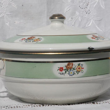 French enamel tureen, french enamelware, french vintage kitchen, french home decor, vintage home decor, french country home,french farmhouse